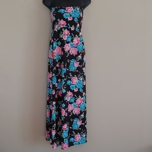 Black maxi skirt with pink and blue flowers